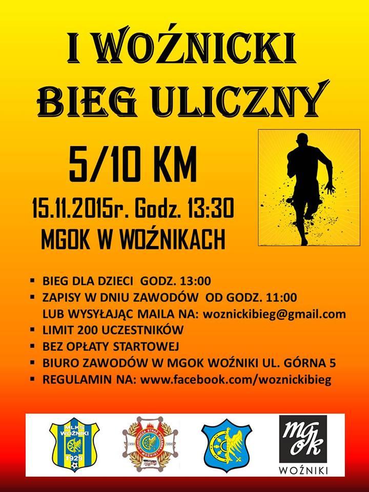 I Woźnicki Bieg Uliczny-plakat